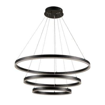 Orion 31 in. 75-Watt Integrated LED Black Dimmable Adjustable 3-Rings Pendant