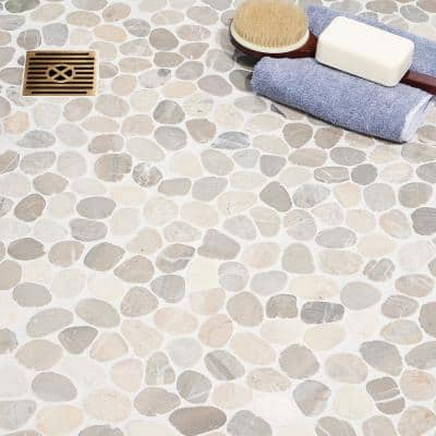 Countryside Sliced Round 11.81 in. x 11.81 in. Gray Floor and Wall Mosaic (0.97 sq. ft. / sheet)