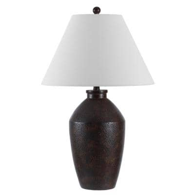 Rani 29.5 in. Brown Table Lamp with White Shade