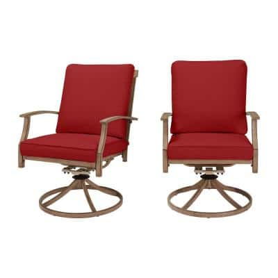 Geneva Brown Wicker Outdoor Patio Swivel Dining Chair with CushionGuard Chili Red Cushions (2-Pack)
