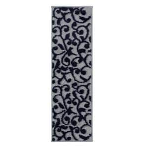 Leaves Collection Navy 9 in. x 28 in. Polypropylene Stair Tread Cover (Set of 13)