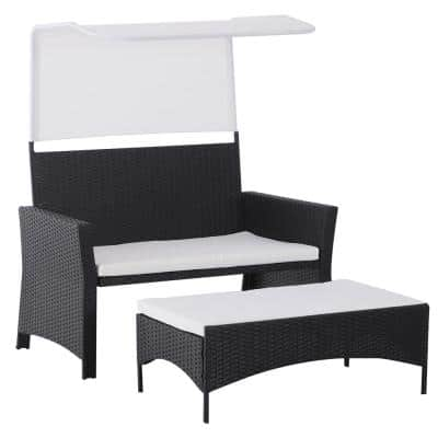Black 2-Piece Aluminum Plastic Rattan Wicker Outdoor Loveseat with White Cushions, Sunshade Canopy, and Ottoman Footrest