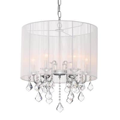 Taylor 5-Light Chrome Chandelier with White Threaded Drum Shade/Hanging Clear Crystals