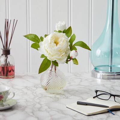 11 in. Peony Artificial Arrangement in Vase