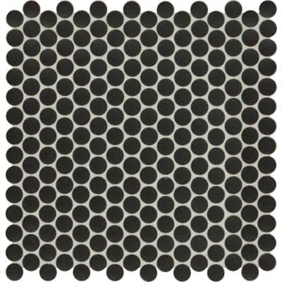 Penny Round Nero 11.3 in. x 12.2 in. x 6 mm Glossy Porcelain Mosaic Tile (14.4 sq. ft. / case)