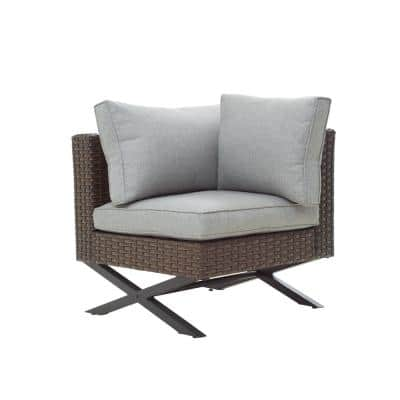 Wicker Outdoor Left-Arm Lounge Chair with Gray Cushion