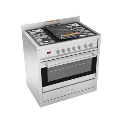 Gourmet 36 in. 3.8 cu. ft. Freestanding Electric Convection Oven Dual Fuel Range in Stainless with Cast Iron Griddle