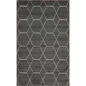 Trellis Frieze Dark Gray/Ivory 5 ft. x 8 ft. Geometric Area Rug
