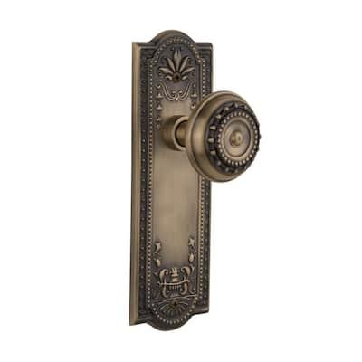 Meadows Plate 2-3/8 in. Backset Antique Brass Passage Hall/Closet Meadows Door Knob