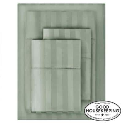 500 Thread Count Egyptian Cotton Sateen 4-Piece King Sheet Set in Willow Green Damask