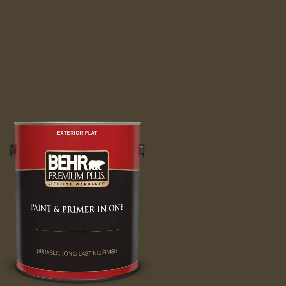 Behr Premium Plus 1 Gal Ppu5 01 Espresso Beans Flat Exterior Paint And Primer In One 430001 The Home Depot