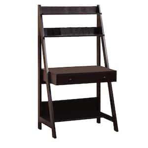 35 in. Rectangular Dark Brown 1 Drawer Ladder Desk with Built-In Storage