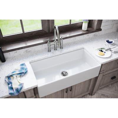 Burnham White Fireclay 36 in. Single Bowl Farmhouse Apron Kitchen Sink