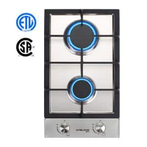 12 in. Built-in Gas Stove Top, LPG Natural Gas Cooktop in Stainless Steel with 2-Sealed Burners, ETL