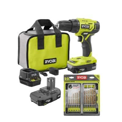 ONE+ 18-Volt 1/2 in. Drill/Driver Kit with (2) 1.5 Ah Batteries, Charger, Bag, and 22-Piece Titanium Drill Bit Kit