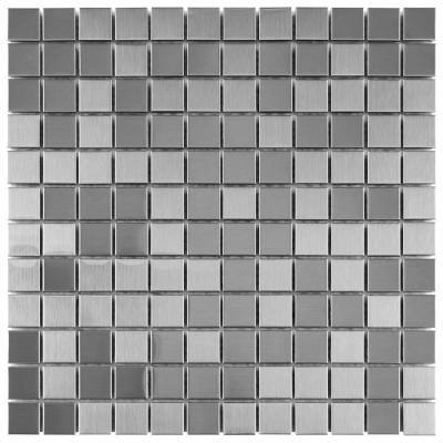 Take Home Tile Sample - Alloy Square Stainless Steel 6 in. x 6 in. Metal and Porcelain Mosaic