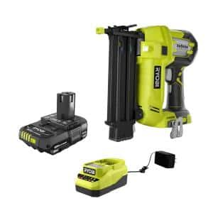ONE+ 18V Cordless AirStrike 18-Gauge Brad Nailer and 2.0 Ah Compact Battery and Charger Starter Kit