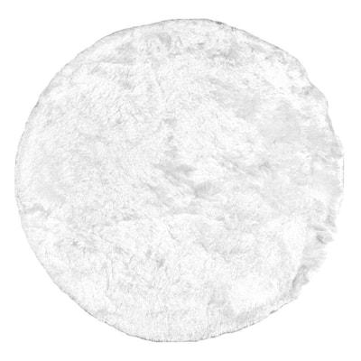 Latonia Silken Shag Pearl White 6 ft. x 6 ft. Indoor Round Rug