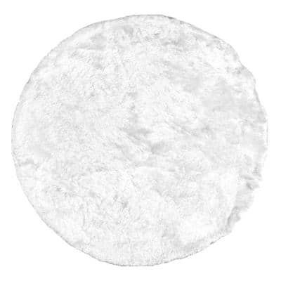 Latonia Silken Shag Pearl White 8 ft. x 8 ft. Indoor Round Rug