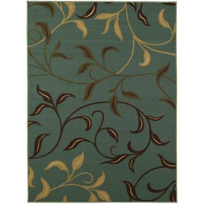 Ottohome Collection Contemporary Leaves Design Seafoam 5 ft. x 7 ft. Area Rug
