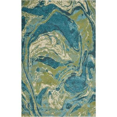Watercolors Teal Geode 5 ft. x 8 ft. Area Rug