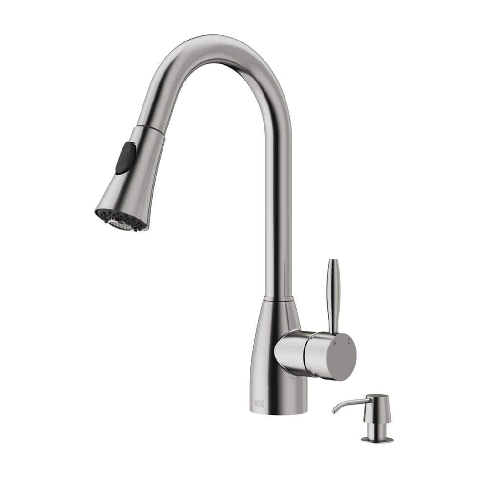 Vigo Aylesbury Single Handle Pull Down Sprayer Kitchen Faucet With Soap Dispenser In Stainless Steel Vg02013stk2 The Home Depot