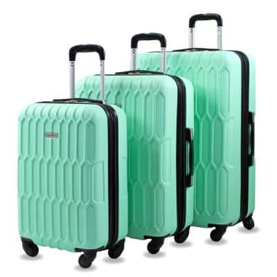 Honeycomb 3-Piece Mint Expandable Spinner Luggage Set