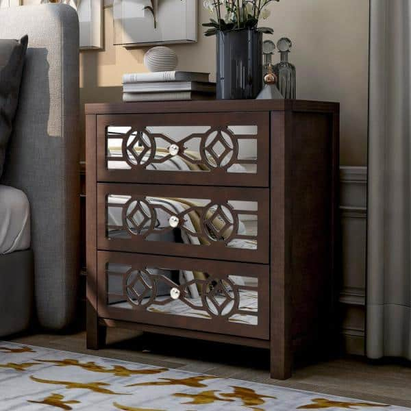 Boyel Living Espresso Natural Wooden Storage Accent Cabinet With 3 Drawers And Decorative Mirror Tr 007e The Home Depot
