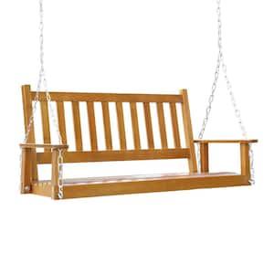Wood Color 2-Person Outdoor Wooden Patio Porch Swing
