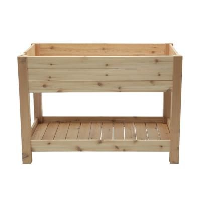 Elevated Cedar Wood Garden Bed With Shelf
