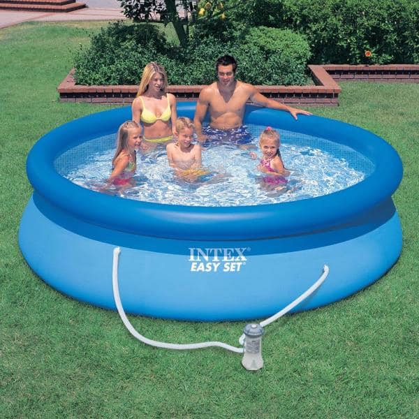 Intex Easy Set 10 Ft Round X 30 In Deep Inflatable Pool With 330 Gph Filter Pump 28121eh The Home Depot