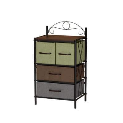 17.32 in. W x 31.7 in. H Walnut Pull-Out Fabric 4-Drawer Unit with Multicolored Drawers
