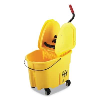 Wave Brake 2.0 35 qt. Yellow Plastic Bucket/Wringer Combos Down-Press