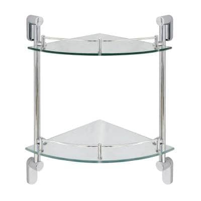 Oval 10.5 in. W Double Glass Corner Shelf with Pre-Installed Rails in Polished Chrome