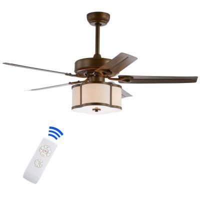 Edith 52 in. Satin Bronze 3-Light Metal/Wood LED Ceiling Fan with Light and Remote