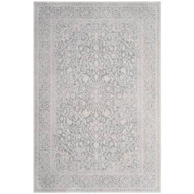 Reflection Light Gray/Cream 6 ft. x 9 ft. Distressed Floral Area Rug