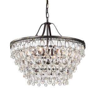 6-Light Antique Bronze Chandelier with Crystal Hanging