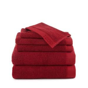 Classic 6-Piece Pompei Red Solid Bath Towel Set