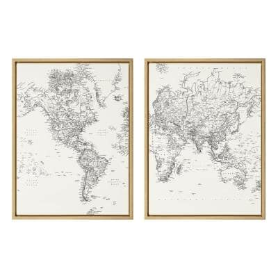 Sylvie Black and White Modern Retro Wold Map 24 in. x 18 in. by The Creative Bunch Studio Framed Canvas Wall Art