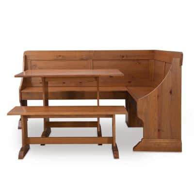 AnnClaire Golden Pine Breakfast Nook with Table and Bench