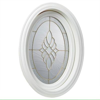 19.5 in. x 28.25 in. White Oval Geometric Vinyl Window in Brass Design