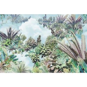 98 in. x 145 in. Blue Tropical Heaven Wall Mural
