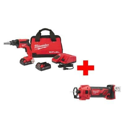 M18 FUEL 18-Volt Lithium-Ion Brushless Cordless Drywall Screw Gun Compact Kit with M18 Cut Out Tool