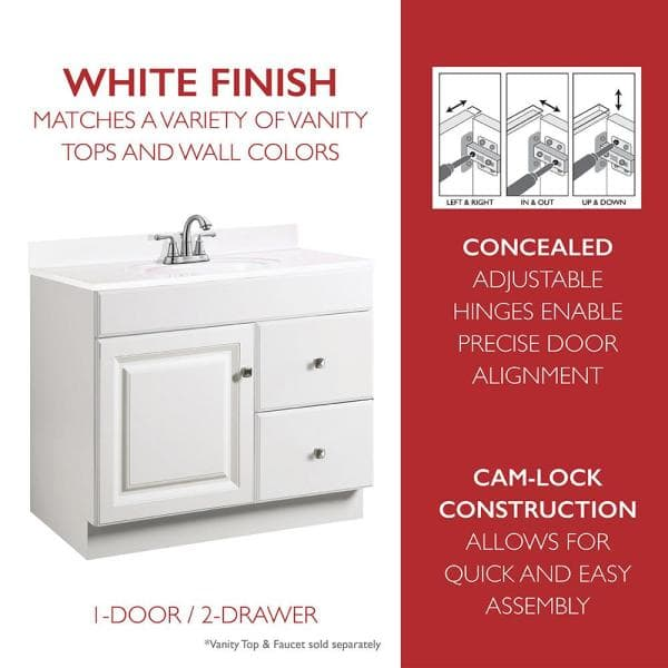 Design House Wyndham 36 In W X 21 In D Unassembled Bath Vanity Cabinet Only In Semi Gloss White 597229 The Home Depot