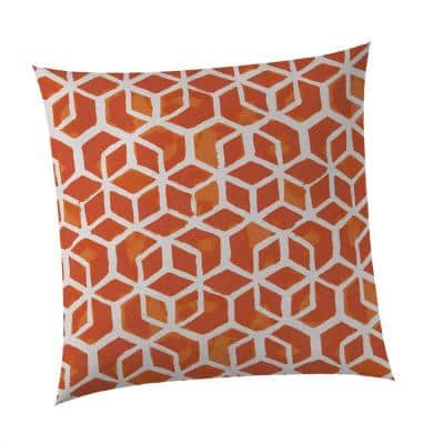 25 in. Cubed Orange Square Outdoor Throw Pillow