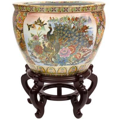 Oriental Furniture 18 in. Famille Rose Porcelain Fishbowl