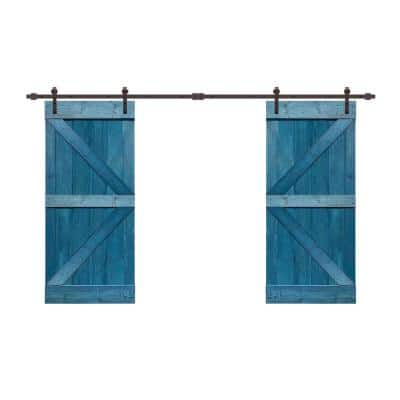60 in. x 84 in. K Series Ocean Blue Stained Solid Knotty Pine Wood Interior Double Sliding Barn Door with Hardware Kit