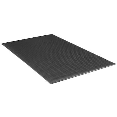 "Soft Foot 1/2"" Diamond DLX Black 3 Ft. x 12 Ft. Commercial Door Mat"