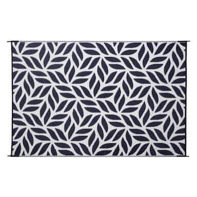 Abstract Leaf Reversible Mat Black/Beige 6 ft. x 9 ft. Virgin Polypropylene Mat with UV Protection