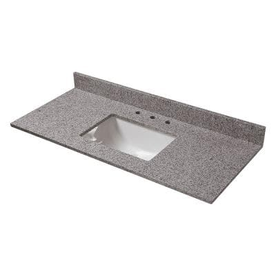 49 in. Granite Vanity Top in Napoli with White Sink and 8 in. Faucet Spread